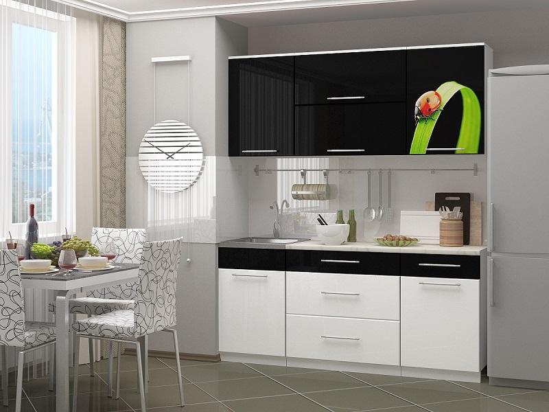 Кухня Ночь-1 черно/белый глянец