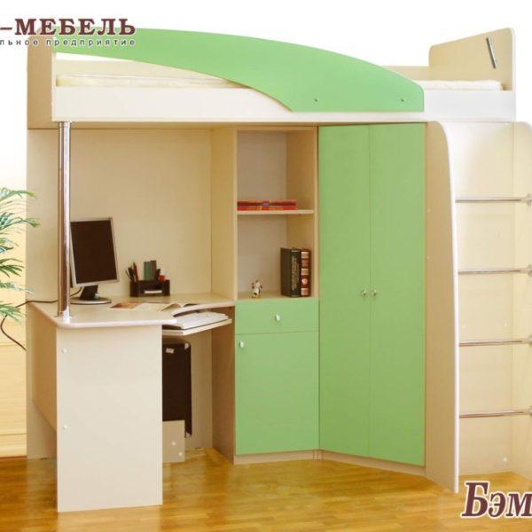 кровать-чердак Бемби-3 дуб млечный/зеленый
