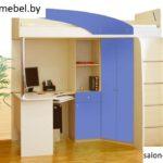 Кровать-чердак Беби 3 (синий/дуб бел)