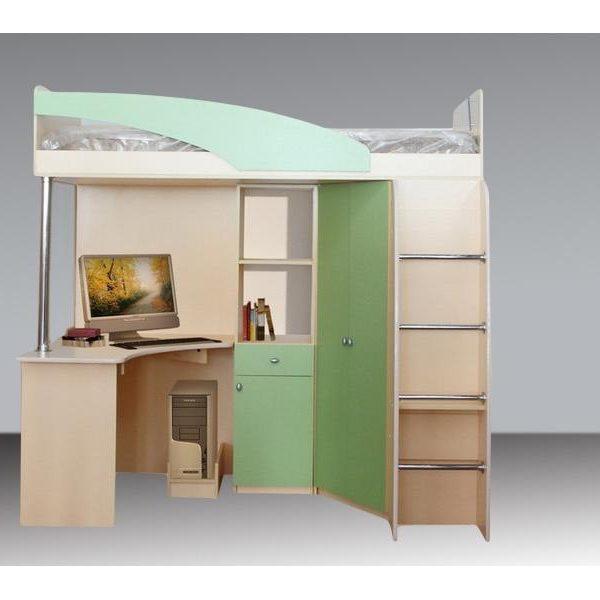 Кровать-чердак Беби 3 (зел/дуб бел