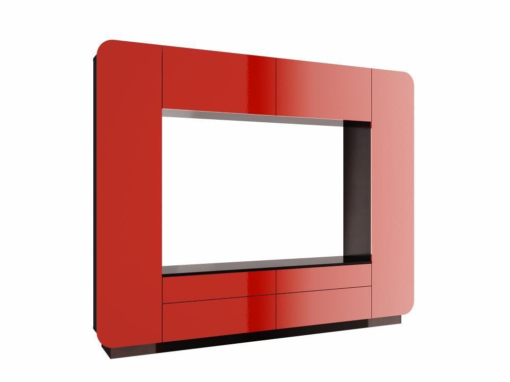 Гостиная Лаванда-2 венге/красный металлик