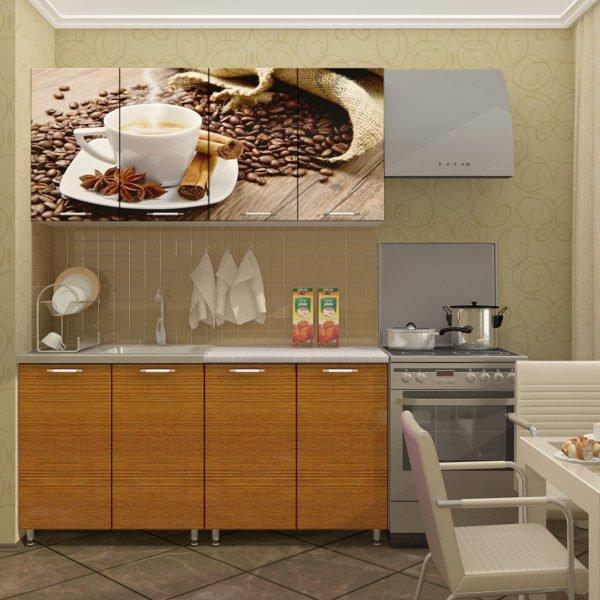 Кухня с фотопечатью Кофе 1.6 метра