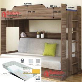 Кровать двухъярусная c диван-кроватю