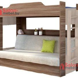 Кровать двухъярусная Прованс с диваном ясень шимо