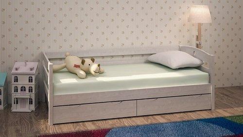 Кровать массив выбеленной березы с ящиками