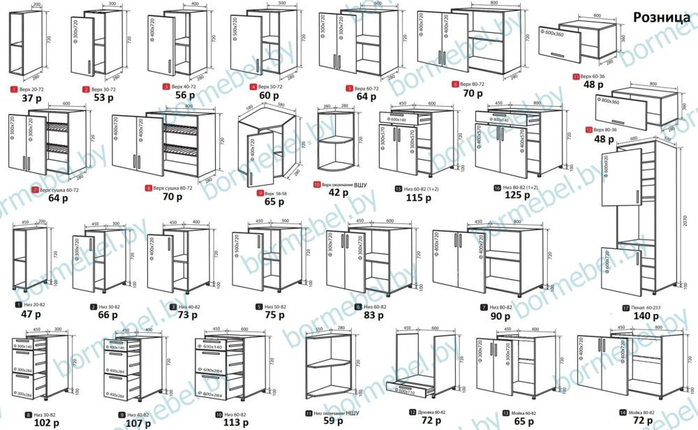 Шкафы кухонные в наличии и под заказ