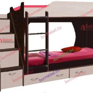 Кровать двухъярусная Крепыш-16 венге/дуб молочный